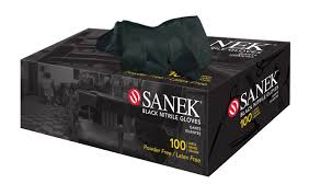 SANEK® Black Powder-Free Nitrile Gloves - Extra Large